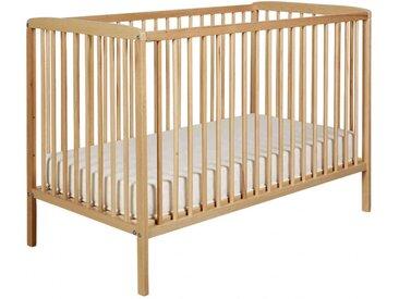 Lit bébé à barreaux 60x120 en bois naturel   matelas LT0002