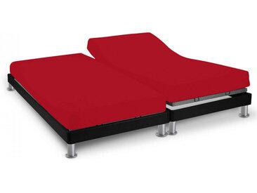 Drap housse rouge TPR pour sommier articulé 2x70x190