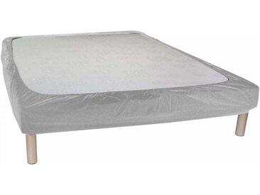 Cache sommier gris souris à bande enveloppante 90x190