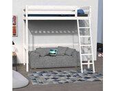 Lit mezzanine en bois massif blanc 90x190 - LT14036