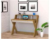 Bureau 1 tiroir en bois naturel et blanc - BU4018
