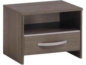 Table de chevet 1 tiroir 1 niche en bois imitation noyer - CH1025 - Terre de Nuit