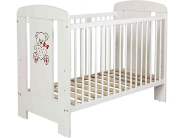 Lit bébé à barreaux 60x120 en bois blanc LT0004
