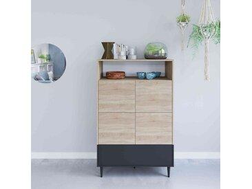 Commode en bois noir avec placard et niche de rangement - CO6001