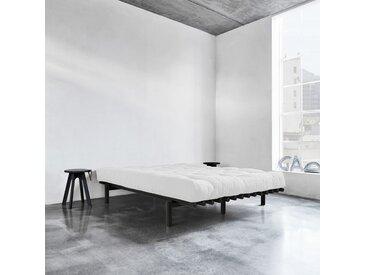 Pack futon latex écru 160x200   lit pace bois noir