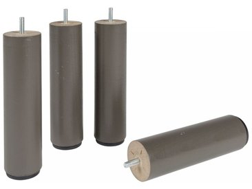 4 pieds cylindriques taupe 25 cm