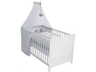 Lit bébé évolutif Jumbotwins en bois blanc réglable en hauteur   matelas et accessoires