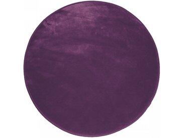 Tapis Rond Prune Velours Louna 90 cm