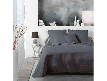 Couvre-lit à pompons Dorinette anthracite 180x220 cm