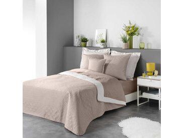 Couvre-lit matelassé bicolore lin/blanc Cottage 240x220 cm