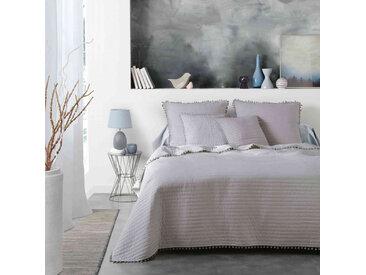 Couvre-lit à pompons Dorinette gris 240x220 cm