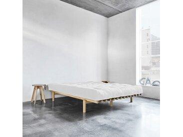 Pack futon latex écru 160x200   lit pace bois naturel