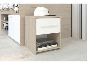 Chevet 1 tiroir en bois blanc et chêne jackson - CH1036