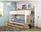 Lit superposé 90x200   tiroir de lit en bois imitation chêne clair et blanc - Terre de Nuit