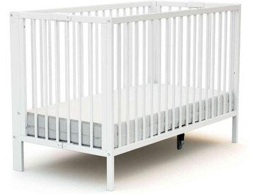 Lit bébé pliant en bois blanc réglable en hauteur 60x120