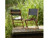 Lot de 2 chaises en bois d'acacia et textilène noir HANOÏ