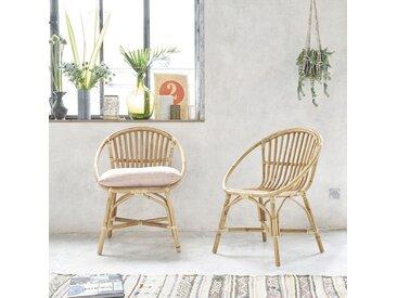Lot de 2 fauteuils en rotin vintage BOHO