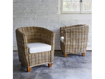 Lot de 2 fauteuils ronds en kubu naturel MUSA