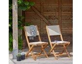 Lot de 2 chaises en bois d'acacia et textilène HANOÏ