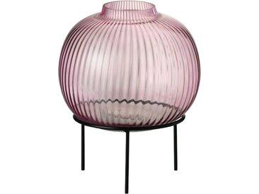 Vase sur pieds en métal et verre
