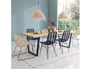Table en bois de teck recyclé et métal 10 personnes JUNE