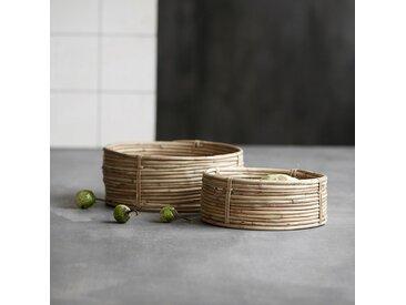 Plateaux en rotin et bambou