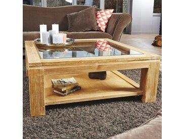 Table basse vitrée en bois de teck 100 BOSTON
