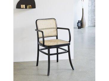 Chaise avec accoudoirs en bois d'acajou et cannage HANA