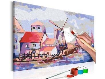 Tableau à peindre par soi-même - Moulins à vent (paysage)