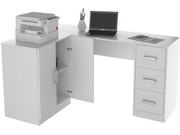 Bureau Armoire et Caisson 3 Tiroirs Blanc