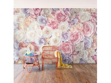 Papier peint roses pastel