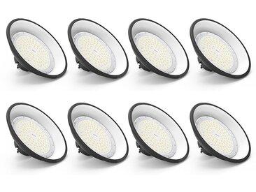 8×Anten 100W UFO Projecteur LED Lampe Industrielle Suspension IP65 Phare de Travail 13000LM Spot Lumière Blanc Froid 6000K Coque Noir