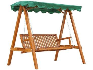 Balancelle de jardin 3 places toit imperméabilisé 2 tablettes support 1,9L x 1,3l x 1,85H m charge max. 360 Kg bois de pin vert