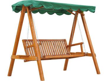 Outsunny - Balancelle de jardin 3 places 2 tablettes support 1,95L x 1,3l x 1,85H m charge max. 360 Kg bois de pin vert