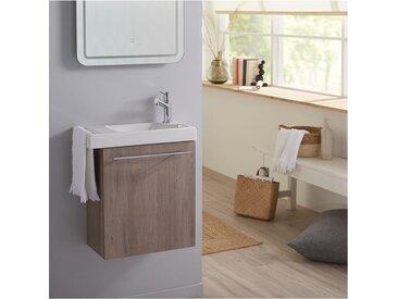 Lave mains complet chêne colorado avec robinet eau froide à droite et porte serviette Colorado PLANETE BAIN