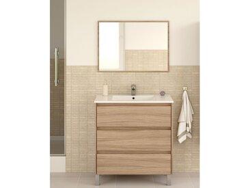Meuble de salle de bain Dakota sur le sol 80 cm couleur naturelle avec miroir | Couleur - Avec colonne et lampe LED