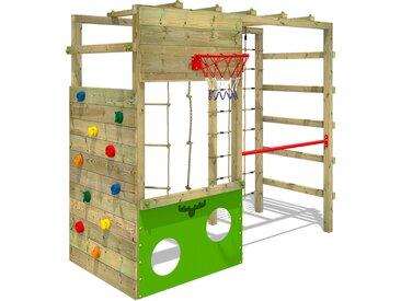FATMOOSE Aire de jeux Portique bois CleverClimber Échafaudage grimpant avec bac à sable, mur d'escalade & accessoires de jeux