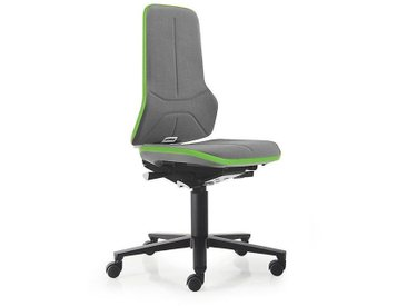 Siège d'atelier NEON avec roulettes, assise en Supertec, gris/vert