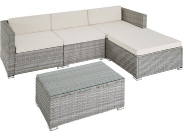 Tectake - Canapé de jardin FLORENCE 4 places, variante 2 - table de jardin, mobilier de jardin, fauteuil de jardin - gris clair