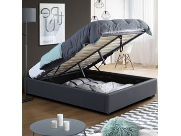 Lit coffre MIAMI PVC gris avec sommier 160 x 200 cm