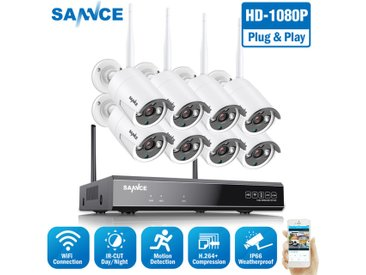 SANNCE Système de caméra de sécurité sans fil WiFi 1080P avec 8 caméras wifi – Sans disque dur