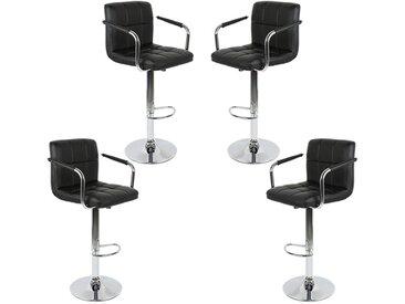 4Pcs Tabouret de bar Noir Chaise avec accoudoirs réglables Hauteur de siège: 62,5 - 82,5 cm