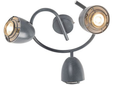 Spot de plafond rond gris pivotant et inclinable à 3 lumières - Plan Qazqa Industriel / Vintage Cage Lampe Luminaire interieur