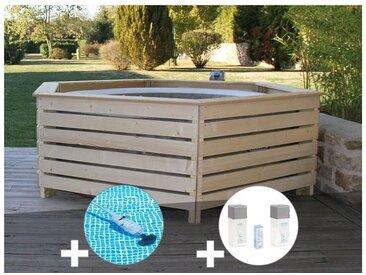 Pack spa gonflable Intex PureSpa Sahara rond Bulles 4 places + Habillage en bois AquaZendo + Aspirateur + Kit traitement brome