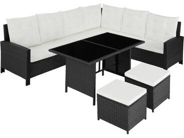 Tectake - Canapé de jardin BARLETTA modulable, variante 2 - table de jardin, mobilier de jardin, fauteuil de jardin - noir