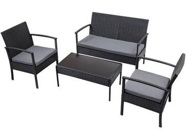 Ensemble Table et Chaises de Jardin en Poly Rotin Ensemble Salon de Jardin avec un Table Basse et 3 canapés avec Coussins Gris
