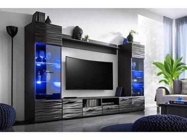 GINEV | Unité murale style contemporain 4 pcs | Éclairage LED inclus | Mur TV | Ensembles meubles salon séjour | Gloss + Mat | Noir - Noir