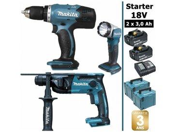 Pack Starter 18V: Perceuse 42Nm DDF453 + Perforateur 1,3J DHR165 + Lampe torche DEADML802 + 2 batteries 3Ah + 2 Coffrets Makpac MAKITA