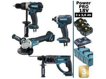 Pack Power PRO 18V: Perceuse 91Nm DDF458 + Perfo 2J DHR202 + Meuleuse 125mm DGA504 + Visseuse à chocs 165Nm DTD152 + 3 batt 5Ah + 3 Coffrets Makpac MAKITA