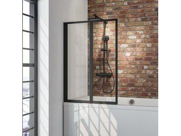 Pare-baignoire rabattable, sans percer, paroi de baignoire Schulte, écran de baignoire pivotant à coller, profilé noir, verre 3 mm transparent, 2 volets, 87 x 120 cm - Transparent